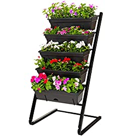 CERBIOR Vertical Garden Herb Raised Bed 4FT Freestanding Elevated Planters with 5 Container Boxes, Good for Patio Balcony Indoor Outdoor (Black) 1 High Quality Materials – CERBIOR vertical vegetable garden is composed of steel power coated iron metal that is durable and rustproof. The freestanding vertical garden frame and planter boxes are both weather resistant which makes them suitable for indoor and outdoor use. Unique Cascading Water Drainage Design -- Designed with unique drainage system, the water on the upper shelves would cascade towards to the lower ones, getting the plants watered adequately.Independent drainage system, easy to disassemble. WIDELY USED -- This vertical garden planter is widely used in garden, patio, porch, balcony. Planting with vegetables, flowers, fruits, herbs, these planters show you a complete, fantastic, small garden, taking less room but growing more plants.