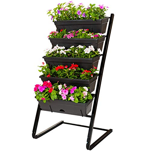 CERBIOR Vertical Garden Raised Garden Bed 4FT Freestanding Elevated Planters with 5 Container Boxes, Good for Patio Balcony Indoor Outdoor