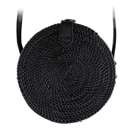 Atabag Made in Bali Bag Rattan Tasche Rund Rundtasche Korbtasche Strohtasche Strandtasche Schwarz Black, Small Klein