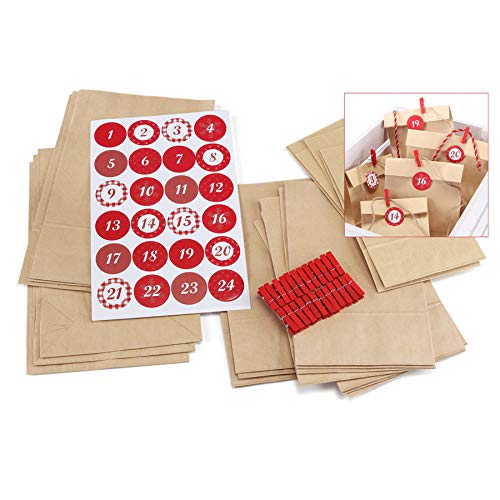 designfun DO IT Yourself ADVENTSKALENDER MIT 24 TÜTCHEN INKL. KLAMMERN UND Sticker