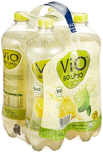 ViO BiO Limo Zitrone-Limette, Erfrischend spritzige Limonade mit 10% Saftanteil, Veganes bio Mineralgetränk, Flasche, EINWEG PET (4 x 1 l)