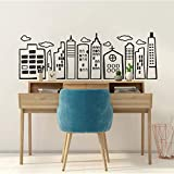 Doodled City Skyline Wall Decal-Cityscape Vinyl Stickers for Bedroom Living Room Kids Room Nursery Home Decor-Black