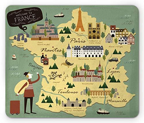Frankrijk muismat, reizende thematische Franse kaart met beroemde oriëntatiepunten in Doodle Style Print, anti-slip rubberen muismat