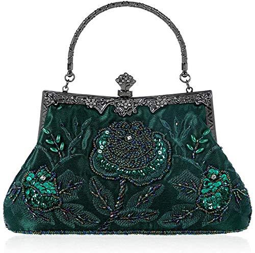 ZSW Vintage Style Beaded Floral Evening Bag Wedding Party Prom Monedero Bolso de Hombro para Mujer-Gris Oscuro