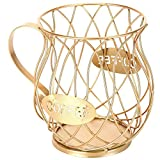 Coffee Capsule Pod Storage Basket,Novelty Coffee Pod Holder,Multipurpose Coffee Cup Basket,for Coffee Capsules Kitchen Storage (Golden)