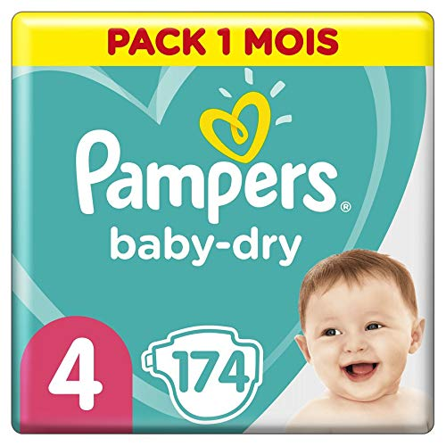 Couches Pampers Taille 4 (9-14 kg) - Baby Dry couches, 174 couches, Pack 1 Mois /NEW