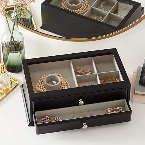 Amazon Basics Wooden Jewelry/Watch Box with Solid Top - 3-Drawer, Black