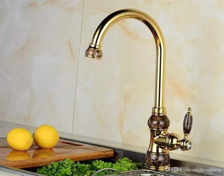 Oudan Küchenarmaturen Europische Natürliche Jade Goldene Heie und Kalte Wasserhahn Waschbecken Wasserhahn (Farbe   B, Gre   -)