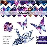 PaperKiddo Papier Origami 200 Feuilles Recto-Verso 20 Dessins despaces étoilés vibrants Papier 6x6 Pouces Pliage Facile Artisanat Dart pour Les Enfants, Les Adultes et Les Enseignants