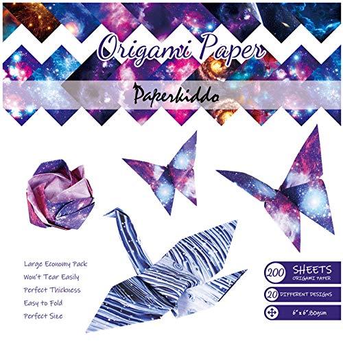 PaperKiddo Papel de origami 200 hojas Doble cara 20 Diseños de espacio vibrante