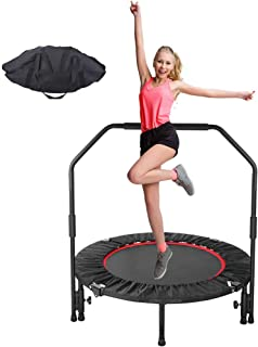 """GARTIO 40"""" Exercise Trampoline, Portable & Foldable Mini Rebounder with Adjustable Handrail and Safety Pad, Indoor Outdoor Fun Fitness Training Workouts for Kids Adults, Max Load 330lbs"""