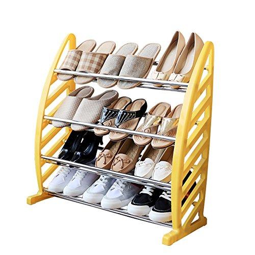 Zapatero para ahorrar espacio Zapato del estante del estante de 4 niveles de hierro barra transversal Estable plástico Gabinete de almacenamiento, 71 * 29.9 * 71.5cm ( Color : YELLOW , Size : YELLOW )