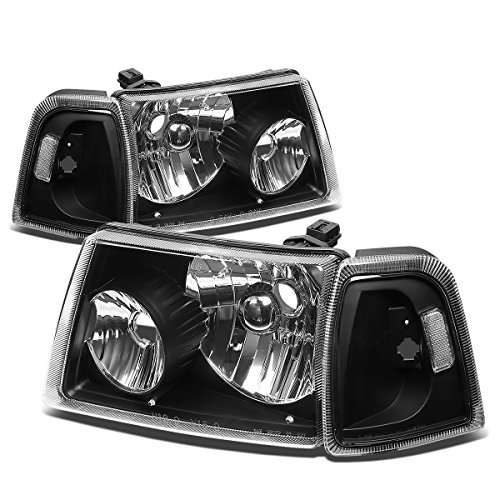 4Pcs Black Housing Headlights Clear Corner Turn Signal Light Lamps Kit Replacement for Ford Ranger 01-11