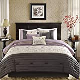D&H 7 Piece Plum Purple Charcoal Grey Floral Embroidery Comforter King Set, Purple Adult Bedding Master Bedroom Modern Stylish Pintuck Leaf Swirl Pattern Elegant Classic Themed, Polyester