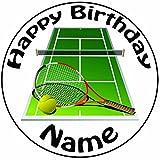 Decoración personalizada para tarta de pista de tenis y raq