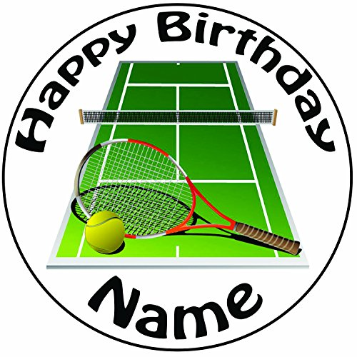 Personalisierter Tennisplatz und Schläger Zuckerguss Kuchen Topper / Kuchendekoration - 20 cm Großer Kreis - Jeder Name Und Jedes Alter