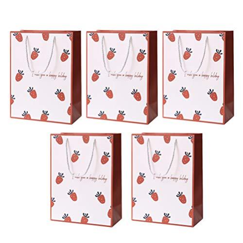 PRETYZOOM Pasqua Dolcetto Sacchetto di Caramelle Sacchetto di Uova Regalo di Fragole Shopping Tote Bag Dolce Custodia per Matrimonio Compleanno Baby Shower Festa 5 Pezzi (Taglia M)