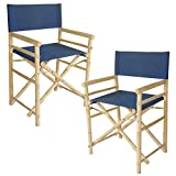 Zew Bamboo Indoor Outdoor Director Navy Blue Canvas-Set Of 2 Chairs, 35' H x 18' W x 23' D