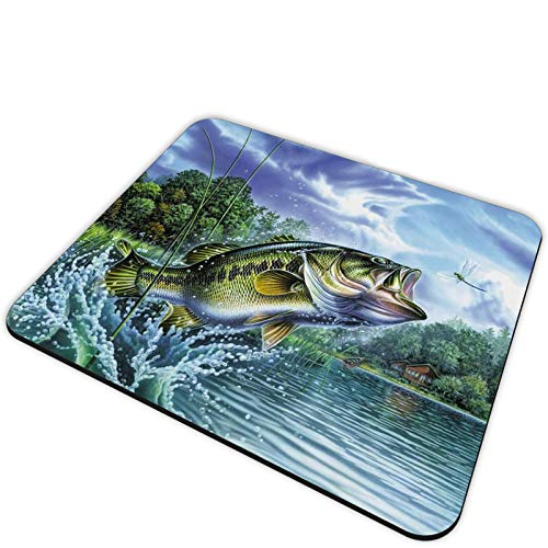 Gaming Mouse Pad and Coasters Set, Fishing Bass Mouth Mousepad, Non-Slip Rubber Rectangle Mouse Pad, Customized Mouse Mat for Working and Gaming