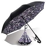 Ombrello, Umbrella Entivento Ombrello inverso Ombrello lungo Ombrello inverso Pieghevole Ombrello C Tipo Mano Apertura automatica Apertura automatica e chiusura resistente agli agenti atmosferici resi