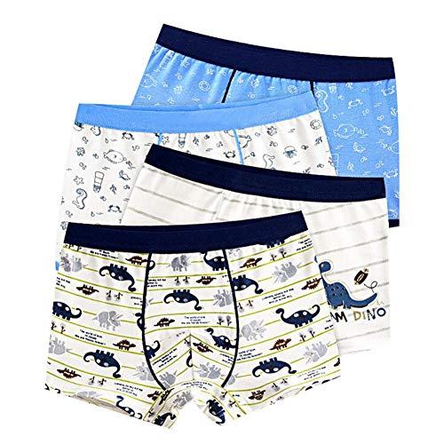 LIUONEXI 4Pcs Baby Jungen Baumwolle Boxershorts, Cartoon Dinosaurier Muster Unterwäsche Trainerhosen Unterhosen Töpfchen
