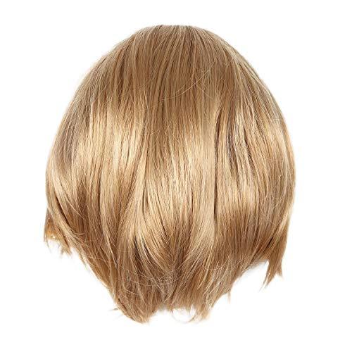 TOOGOO Mode Perruques pour femmes avec poney, vague naturelle, courtes perruques de cheveux humains, Blonde
