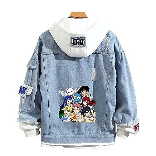 AZYVv Veste Jean Anime Fairy Tail Vestes À Capuche Unisexe Casual Outwear Coat Adolescents Manche Longue Sweat Costume Cosplay pour Hommes Femmes Étudiant Adolescent Cadeau 3XL