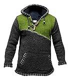Jersey muy abrigado, cuello cruzado con cremallera, con capucha de lana, estilo bohemio Verde verde XX-Large
