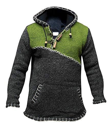 Jersey muy abrigado, cuello cruzado con cremallera, con capucha de lana, estilo...