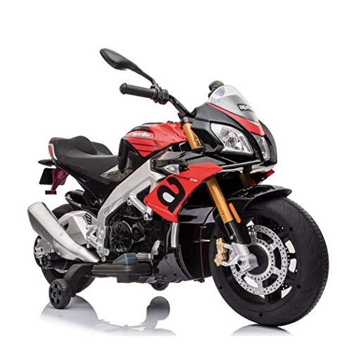 Moto motocicletta Elettrica per Bambini Aprilia Tuono V4 1100 RR 12v Luci LED Suoni Lettore Mp3 (Rosso)