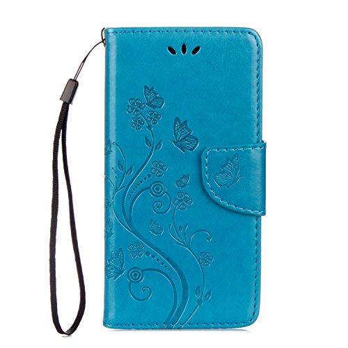 Sunrive Hülle Für Samsung Galaxy Xcover 4, Magnetisch Schaltfläche Ledertasche Schutzhülle Case Handyhülle Schalen Handy Tasche Lederhülle(Prägung Marineblau s)+Gratis Universal Eingabestift