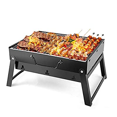 Pinshion Barbecue Charcoal Grill Portable BBQ, Foldable Premium BBQ Grill Tabletop Outdoor Smoker Folding Charcoal Grill for Outdoor Campers Barbecue Lovers Travel Park Beach Wild