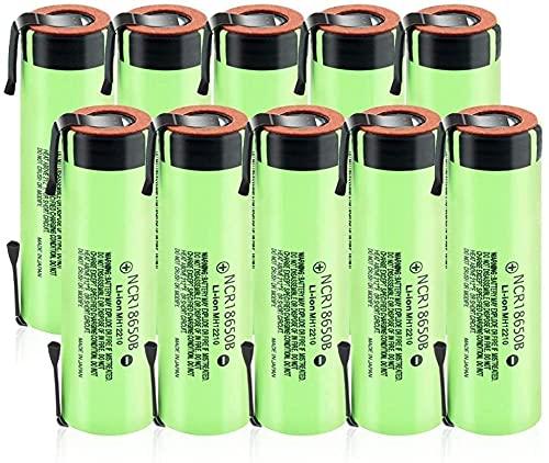 3.7v 3400mAh Batería Recargable 18650 NCR Li-Ion Baterías de Litio con 2 pestañas 10pcs