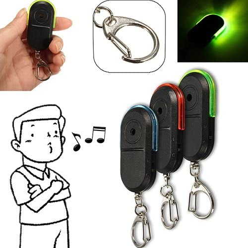 shlutesoy Wireless Anti Lost Alarm Key Finder Locator Whistle Sound LED Light Keychain Green product image