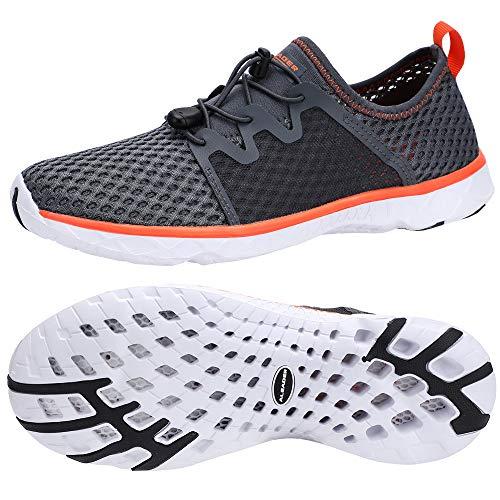 ALEADER Mens Water Shoes, Xdrain Venture, Travel Sneakers Gray/White/Orange 8.5 D(M) US