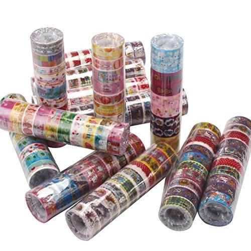 Bilila 10pcs Cute Mixed Colors Japanese Washi Tape Hobby Decorative Crafting Tape Scrap