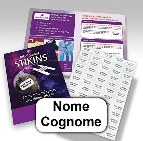 90 etichette adesive personalizzate per l'abbigliamento, STIKINS Label Planet, etichette adesive, targhette adesive per grembiuli/vestiti/abbigliamento per bambini, etichettatura adesiva con nome,