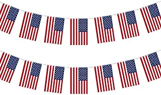 G2PLUS 40PCS 4th of July Independence Day American Flag Banner String,36 Feet USA Banner Flags Decoration for Bar,Sports Clubs, Grand Opening, Festival Events Celebration