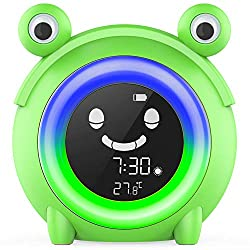 USAOSHOP Kids Alarm Clock Digital Wake Up Clock with 5-Color Changeable Night Light Indoor Temperature Nap Timer Baby Children's Sleep Training Bedside Clock for Boys Girls Bedroom (Frog)