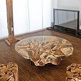 Möbel Bressmer Design Wurzelholz Couchtisch NAGA inkl. Glasplatte 100 cm Handarbeit Treibholz massiv | Baumstamm Teak Wurzel Wohnzimmer Tisch