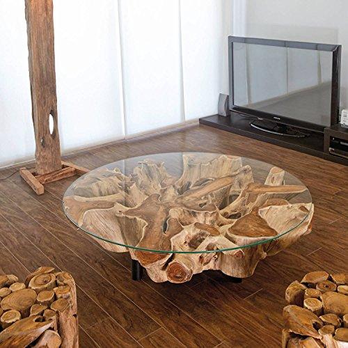 Möbel Bressmer Design Wurzelholz Couchtisch NAGA inkl. Glasplatte 100 cm Handarbeit Treibholz massiv   Baumstamm Teak Wurzel Wohnzimmer Tisch
