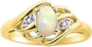 Diamond & African Opal Ring Set In Yellow Gold Plated Silver .925