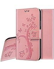 Funda Para iPhone 12 Mini,Slim Case de Estilo Billetera Carcasa Libro Funda de Cuero de la PU con Tapa Protectora de Cuerpo Completo Suave Magnético Para iPhone 12 Mini,Oro Rosa