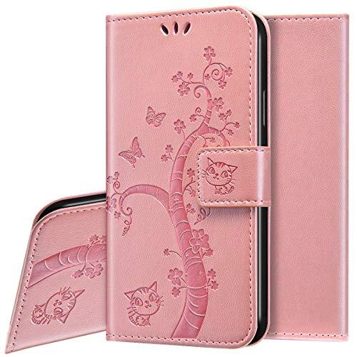 Funda Para Xiaomi Mi 10 Lite,Slim Case de Estilo Billetera Carcasa Libro Funda de Cuero de la PU con Tapa Protectora de Cuerpo Completo Suave Magnético Para Xiaomi Mi 10 Lite,Oro Rosa