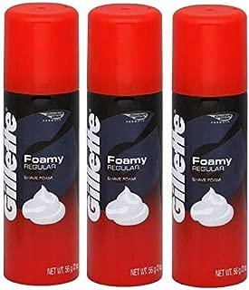 Gillette Foamy Shave Cream, Regular, 2 Oz (56 G) (Pack of 3)