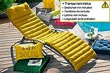 J&K Markets - Cojín acolchado para tumbona (60 x 180 cm, 100% algodón), color amarillo