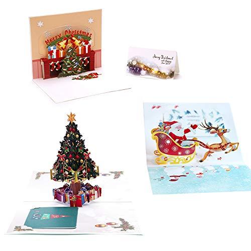 Tarjeta de Felicitación 3D Pop-up 3Pcs emergente Tarjetas de regalo con sobres de Navidad Vacaciones Reno Árbol...
