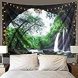Dremisland Sonnenuntergang Wald Ozean Berge Wandbehang Tapisserie Natur Hausdekorationen Wandteppich zum Wohnzimmer Schlafzimmer Dekor (Der Wasserfall, L/148X200 cm)
