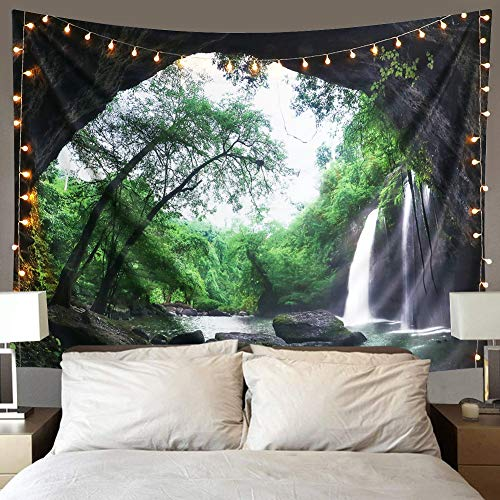 Dremisland Mountain Cave Wall Tapestry Waterfall Tapestries Wall Hanging Forest Tree Tapestry Nature Landscape Wall Art Decoration for Bedroom Living Room Dorm (The Waterfull, M/130X150cm(51'X59'))