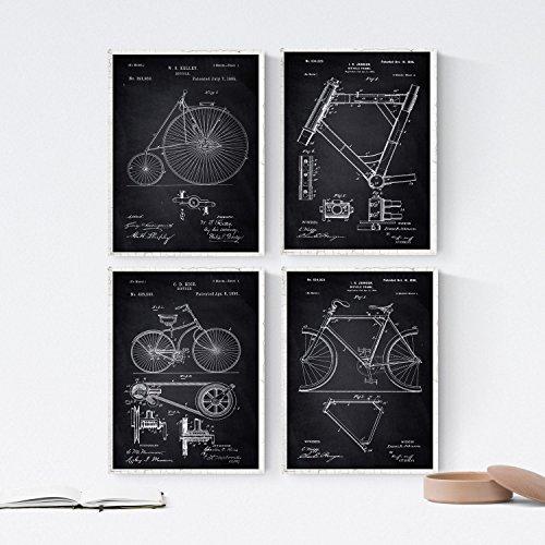 Nacnic Negro - Pack de 4 láminas con Patentes de Bicicletas. Set de Posters con inventos y Patentes Antiguas. Elije el Color Que más te guste.